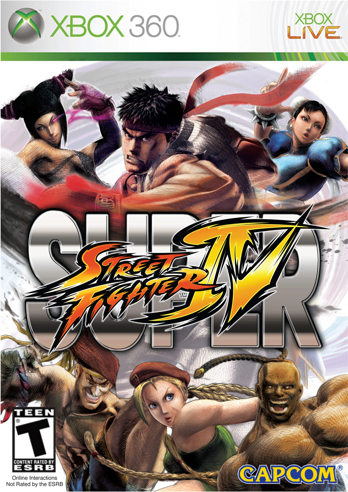 Cover art for Super Street Fighter 4 on the XBox 360