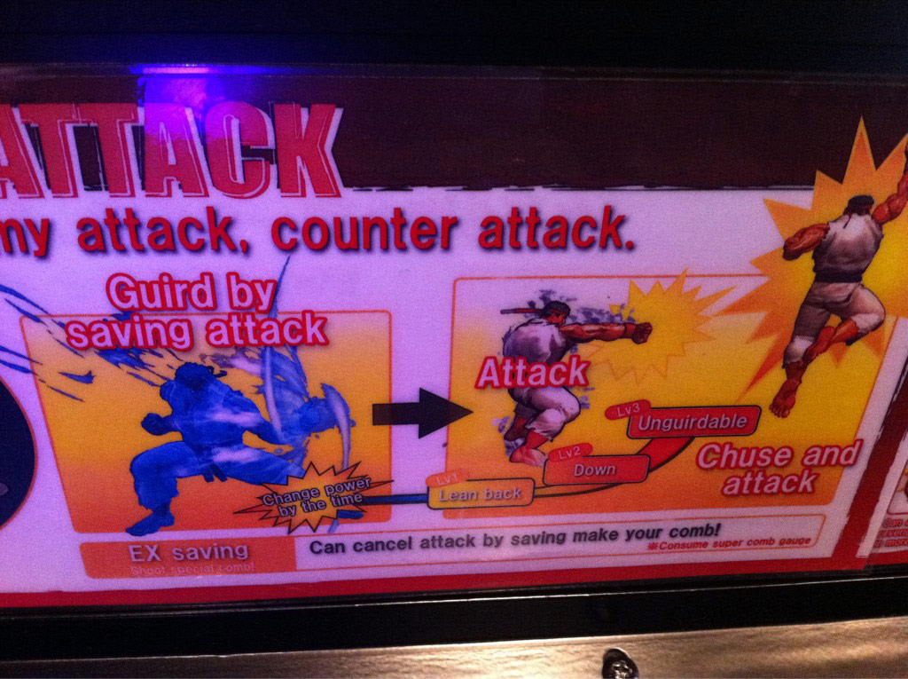 Typos in Super Street Fighter 4 Arcade Edition's instructions