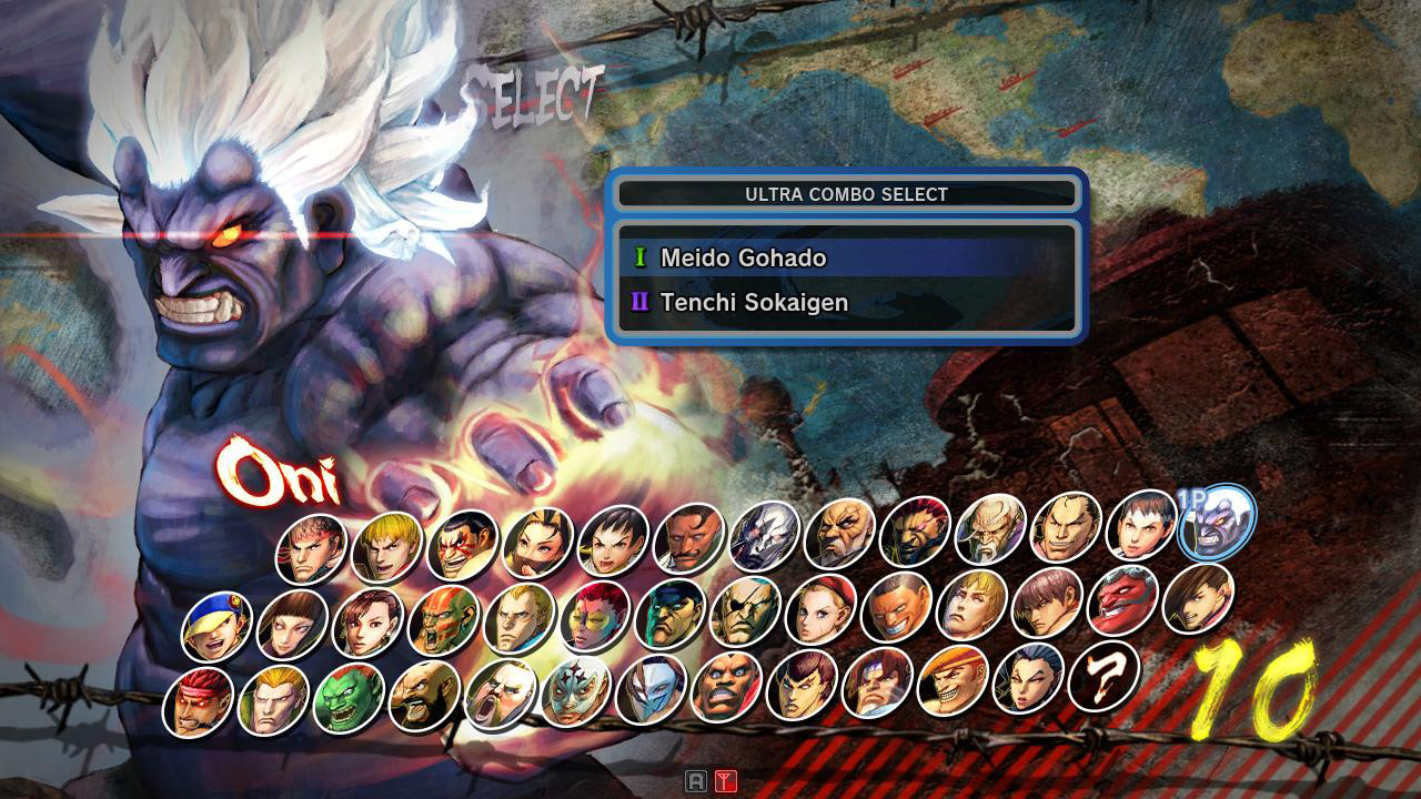 Character select screen for super street fighter 4 arcade edition