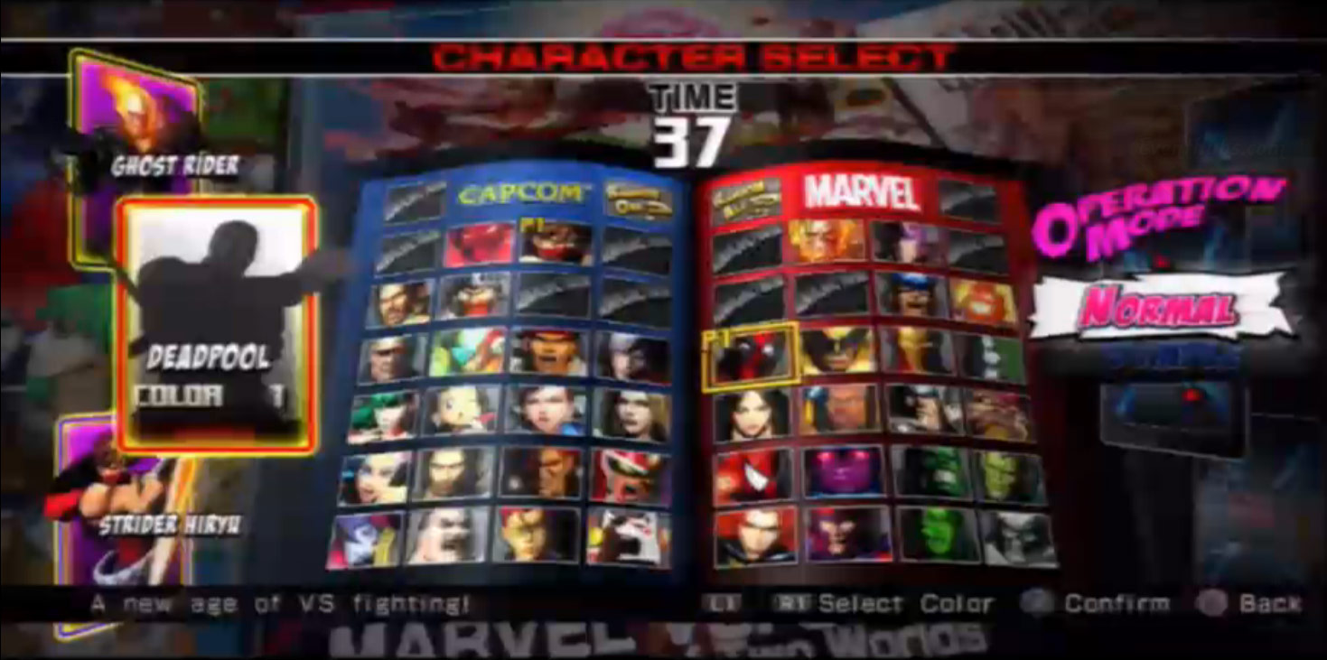 Character selection screen for Ultimate Marvel vs. Capcom 3