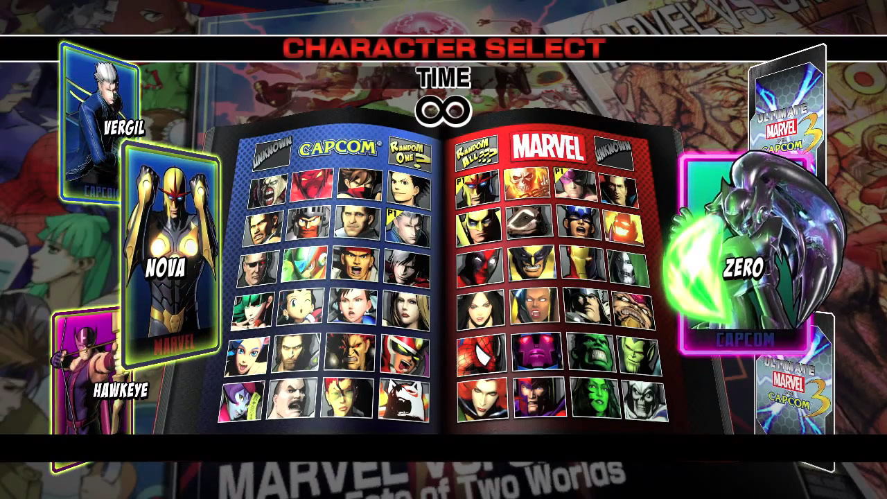 Full character select screen for ultimate marvel vs capcom 3