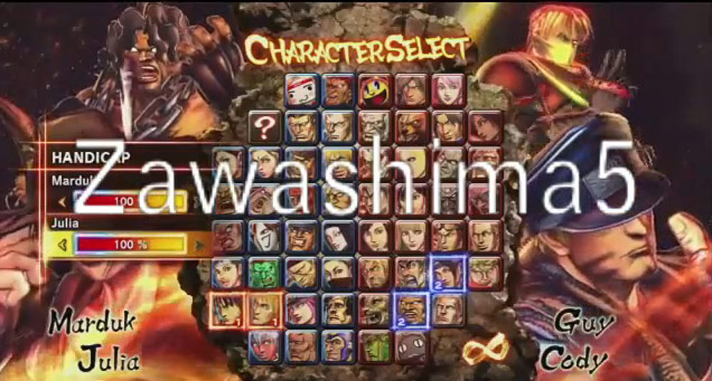 Street Fighter X Tekken complete character select screen