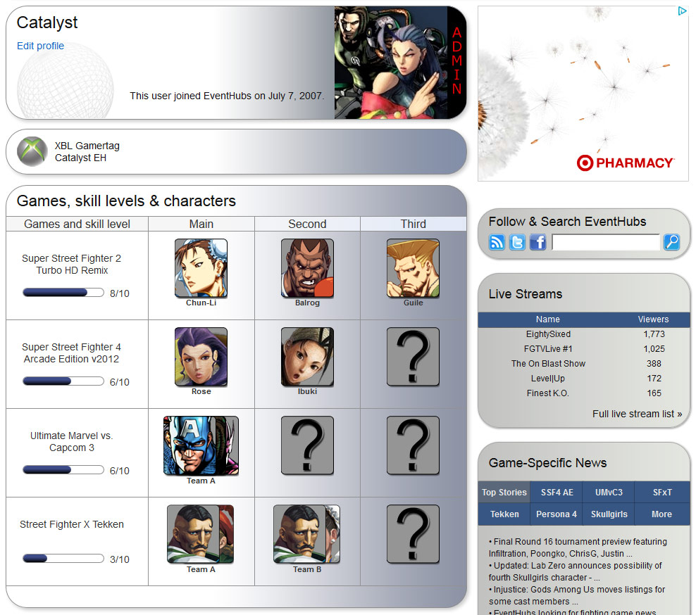 New site features: Characters in profiles and Fight Tracker searching by characters image #3