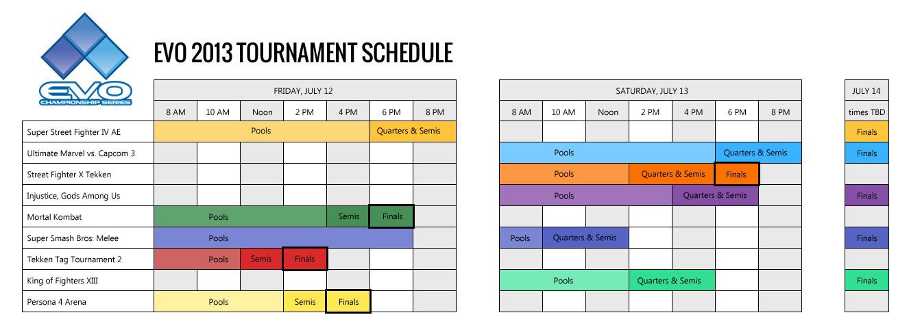 EVO 2013 Schedule