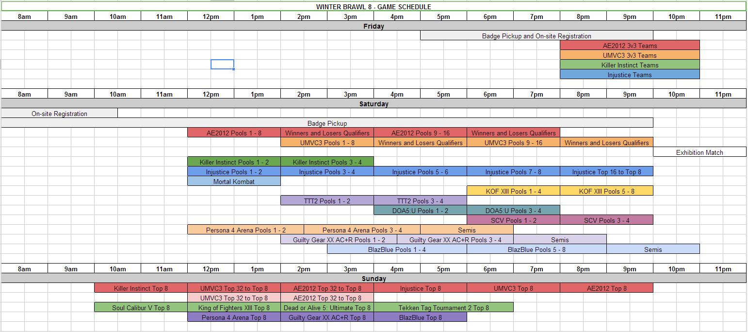 game schedule:
