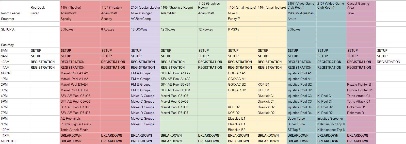 Civil War 6 Saturday Schedule