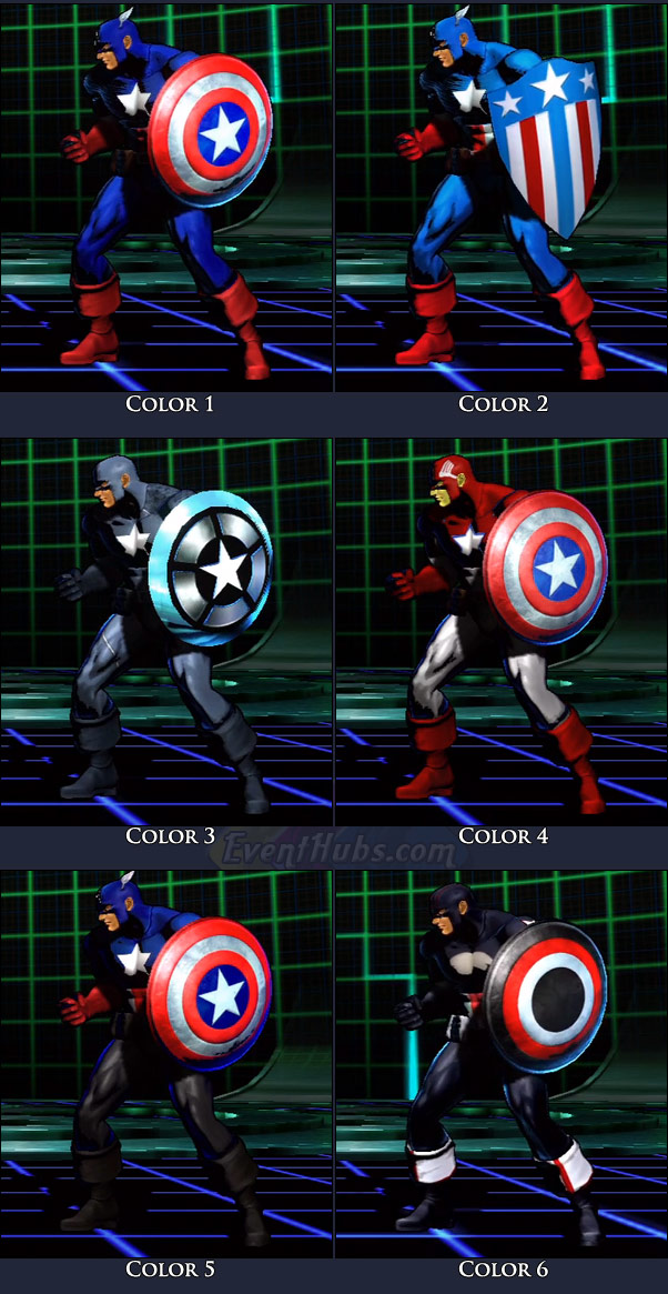 Captain America's main costume colors in Marvel vs. Capcom 3
