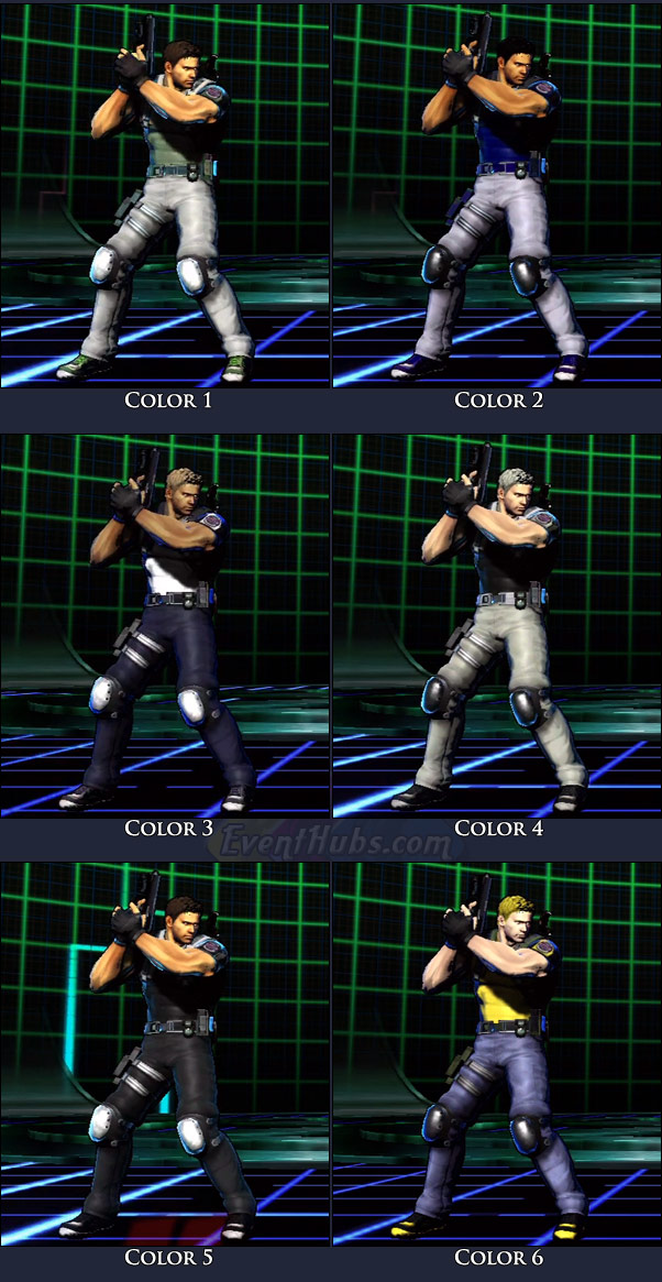 Chris Redfield's main costume colors in Marvel vs. Capcom 3