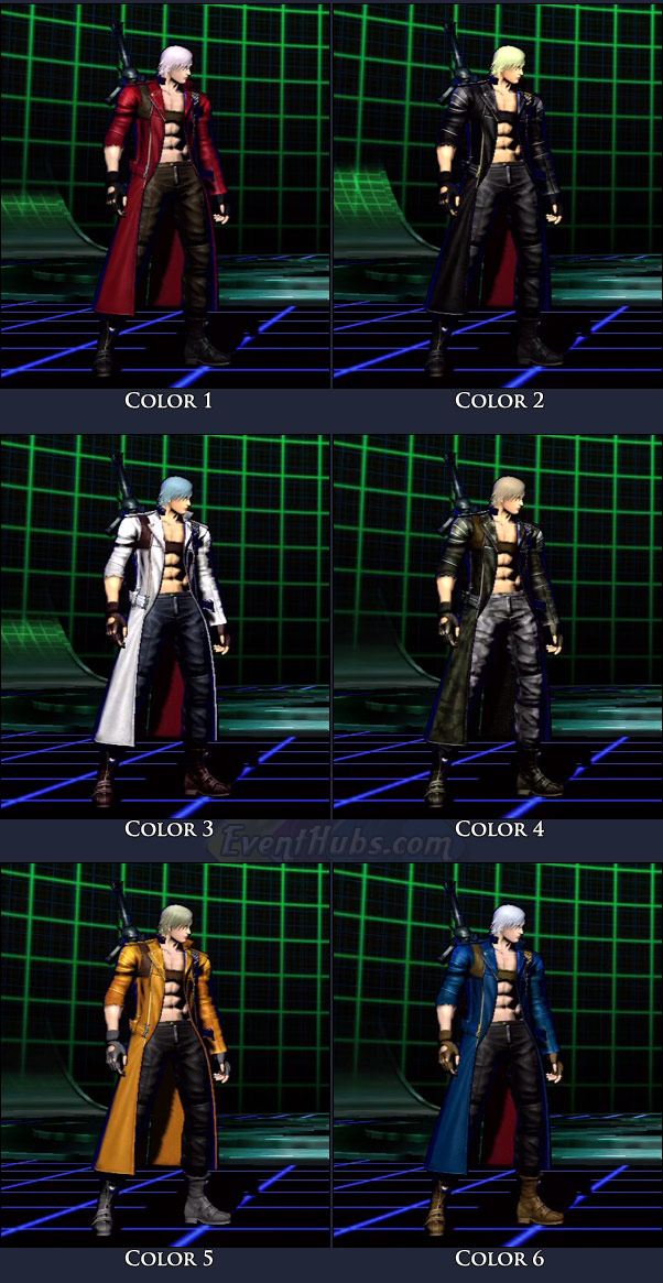 Dante's main costume colors in Marvel vs. Capcom 3