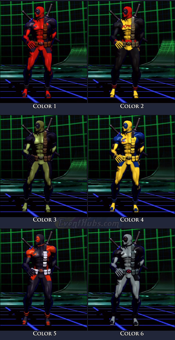 Deadpool's main costume colors in Marvel vs. Capcom 3