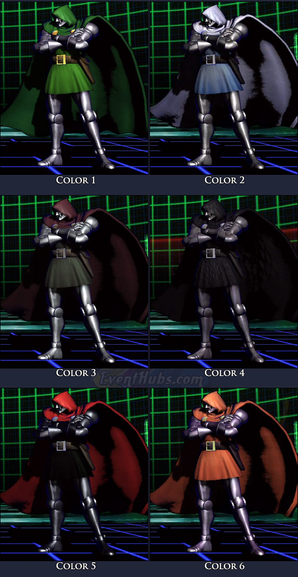 Doctor Doom's main costume colors in Marvel vs. Capcom 3