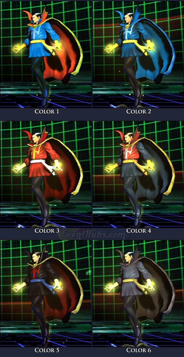 Doctor Strange's main costume colors in Marvel vs. Capcom 3