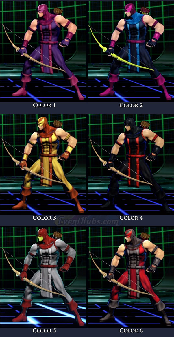 Hawkeye's main costume colors in Marvel vs. Capcom 3