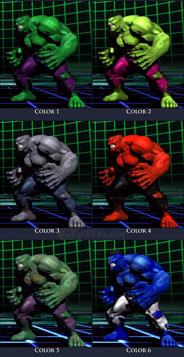 Hulk's main costume colors in Marvel vs. Capcom 3