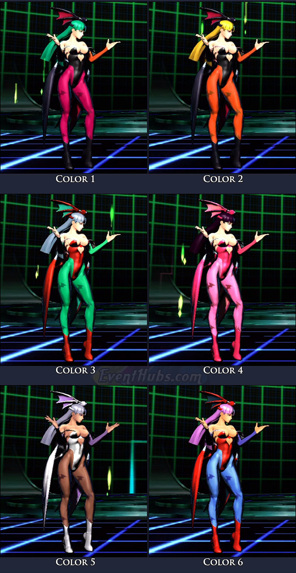 Morrigan's main costume colors in Marvel vs. Capcom 3