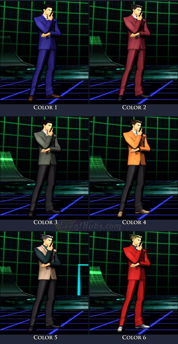 Phoenix Wright's main costume colors in Marvel vs. Capcom 3