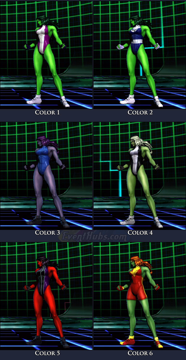 She-Hulk's main costume colors in Marvel vs. Capcom 3