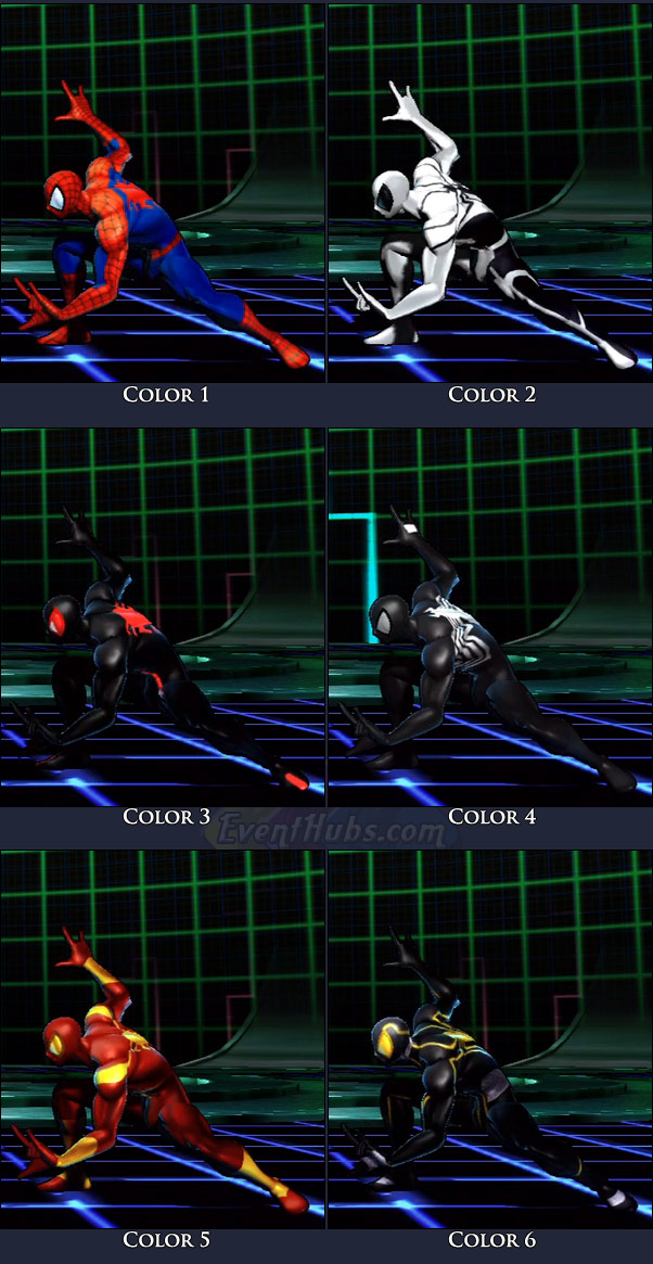 Spider-Man's main costume colors in Marvel vs. Capcom 3