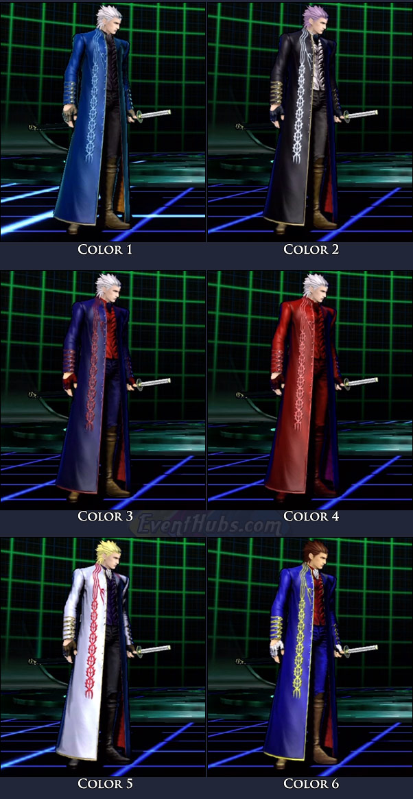 Vergil's main costume colors in Marvel vs. Capcom 3