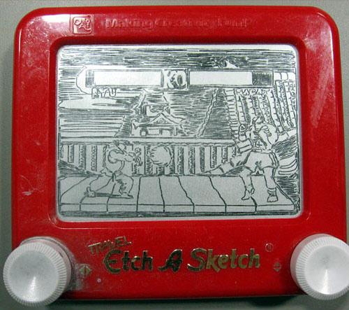 Street Fighter etch-a-sketch drawing