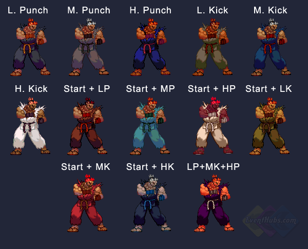 Akuma's colors in Street Fighter 3 Third Strike