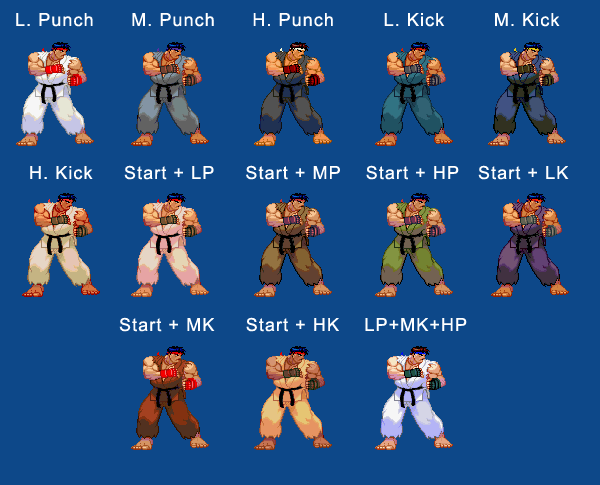 Ryu's character select colors