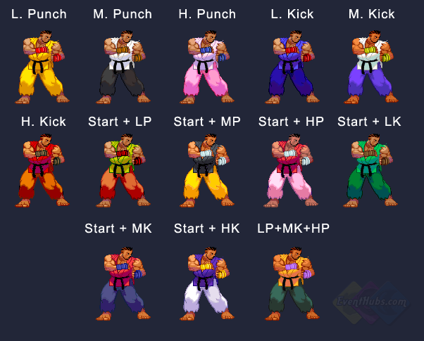 Sean's colors in Street Fighter 3 Third Strike