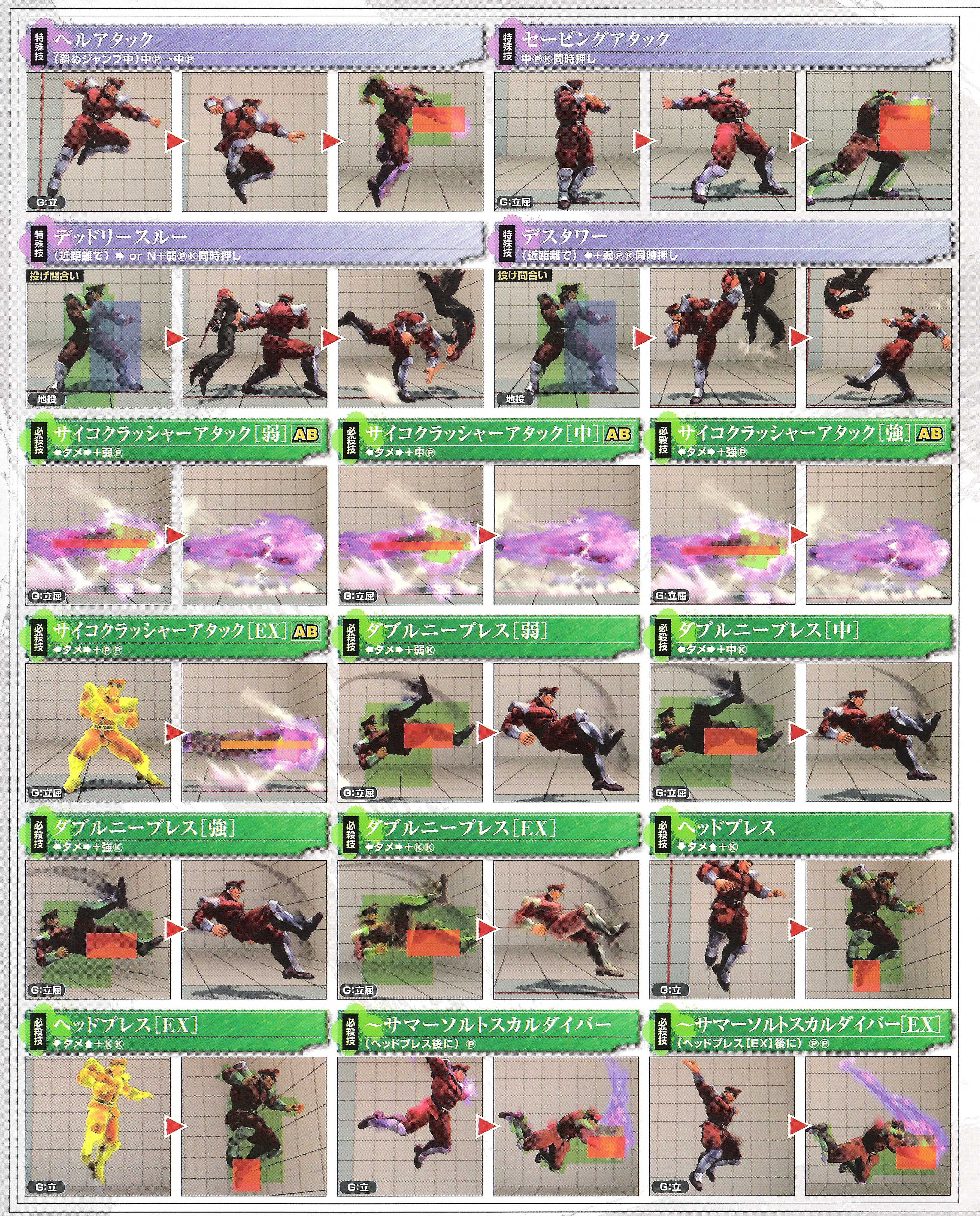 M. Bison's hit box information for Super Street Fighter 4 Arcade Edition image #2