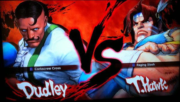 Dudley and T. Hawk on the Super Street Fighter 4 character vs. screen