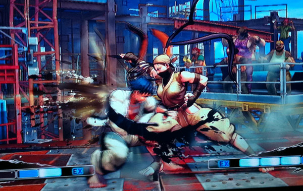 Ibuki and Makoto squaring off in Super Street Fighter 4