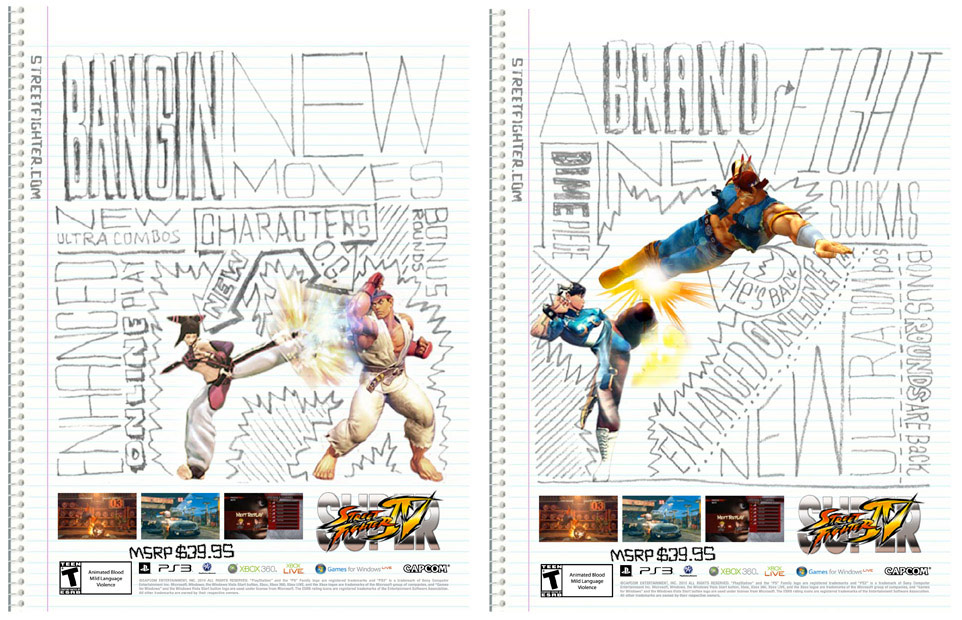 Concept art for Super Street Fighter 4 print ad campaign