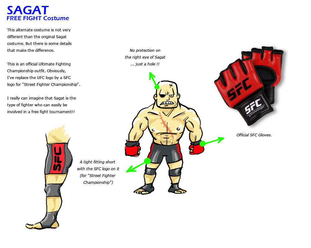 Sagat remixed Street Fighter 4 artwork explanation by KAiWAi