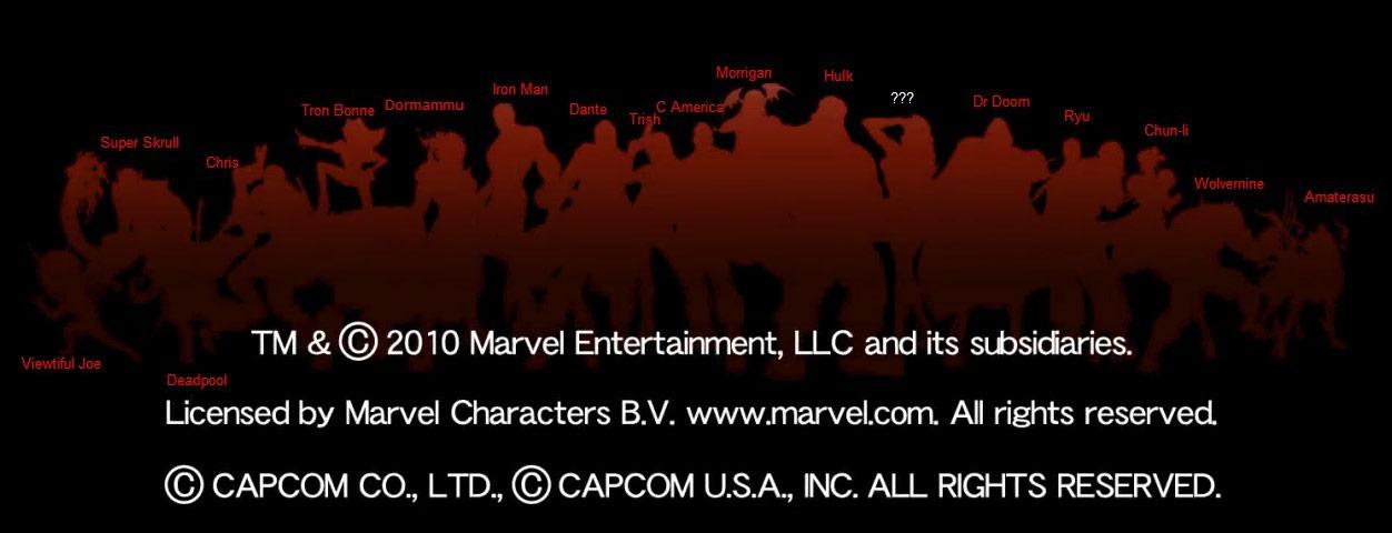 New Marvel vs. Capcom 3 silhouettes, with names