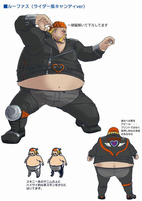 Concept artwork for Rufus' new alternative costume in Super Street Fighter 4