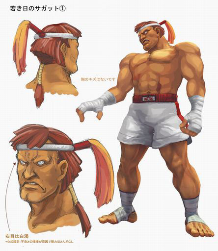 Concept artwork for Sagat's new alternative costume in Super Street Fighter 4