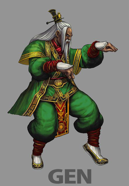 Concept artwork for Gen's new alternative costume in Super Street Fighter 4