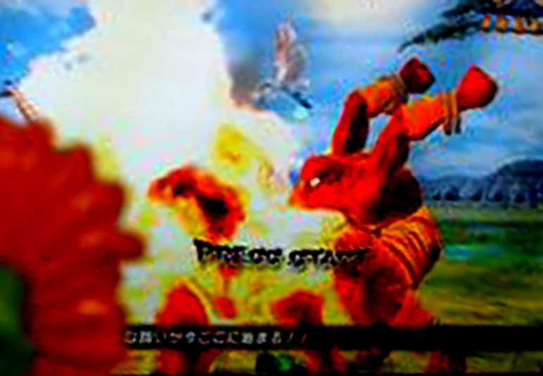 Enhanced image of Dhalsim blowing fire on an unknown competitor