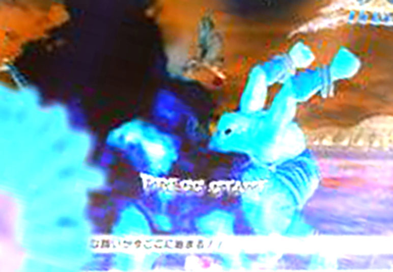 Enhanced image of Dhalsim blowing fire on an unknown competitor #2