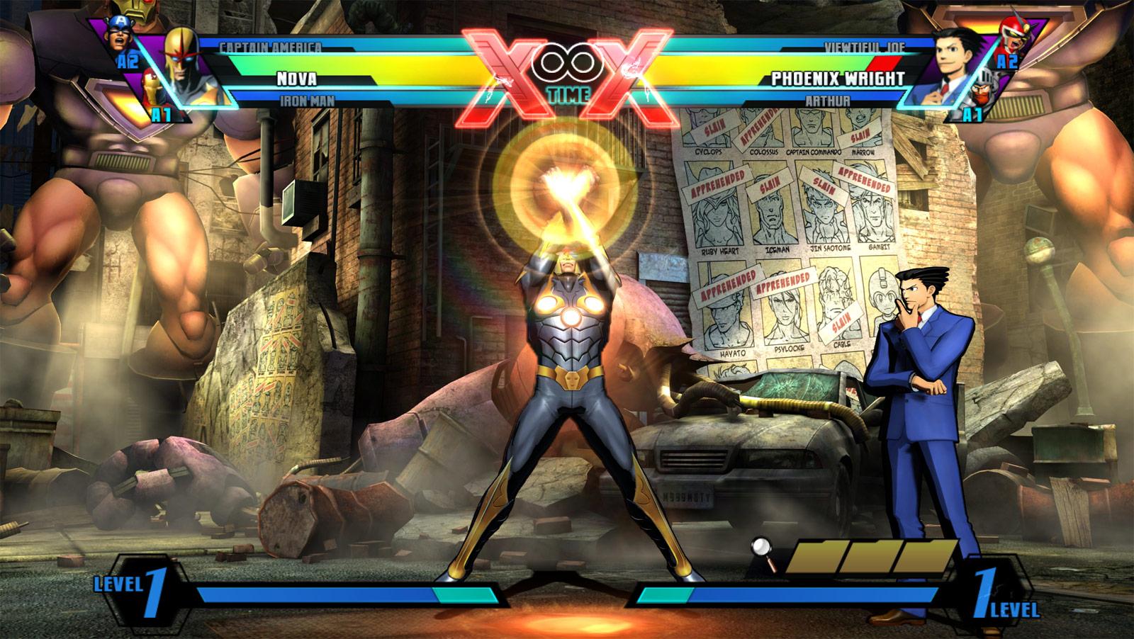 Phoenix Wright and Nova screens for Ultimate Marvel vs. Capcom 3 #2
