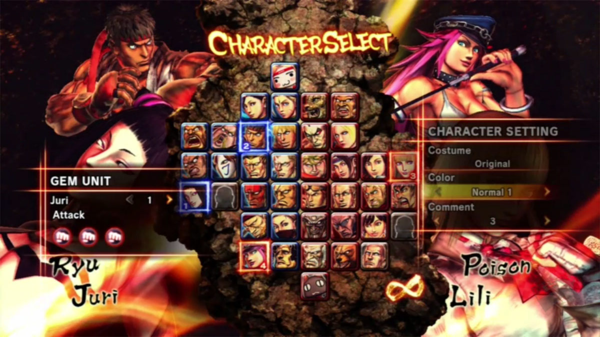 Character and stage select screens for Street Fighter X ...