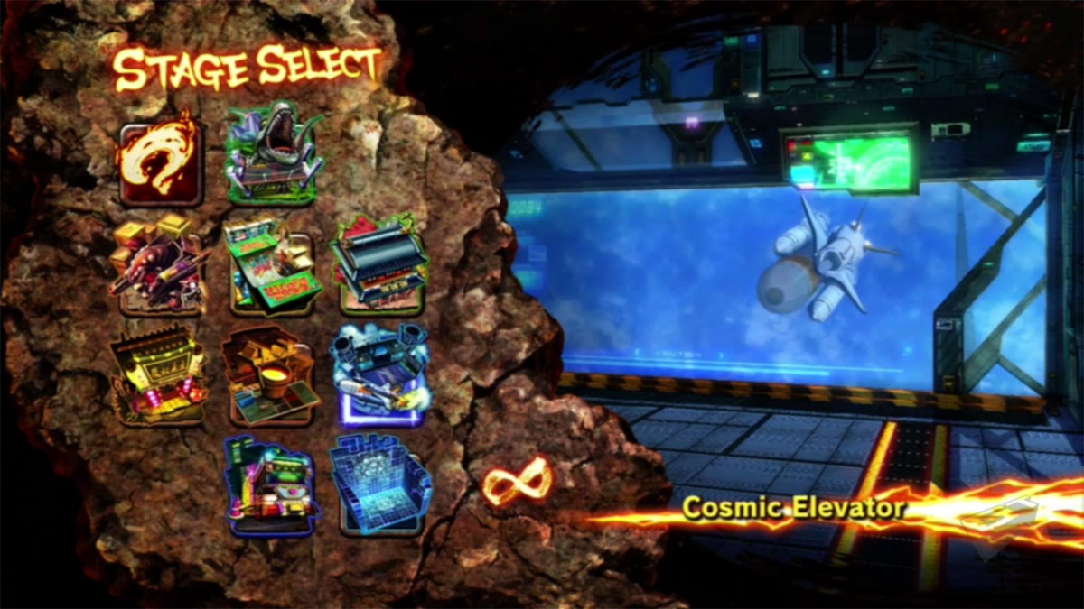 Character and stage select screens for Street Fighter X