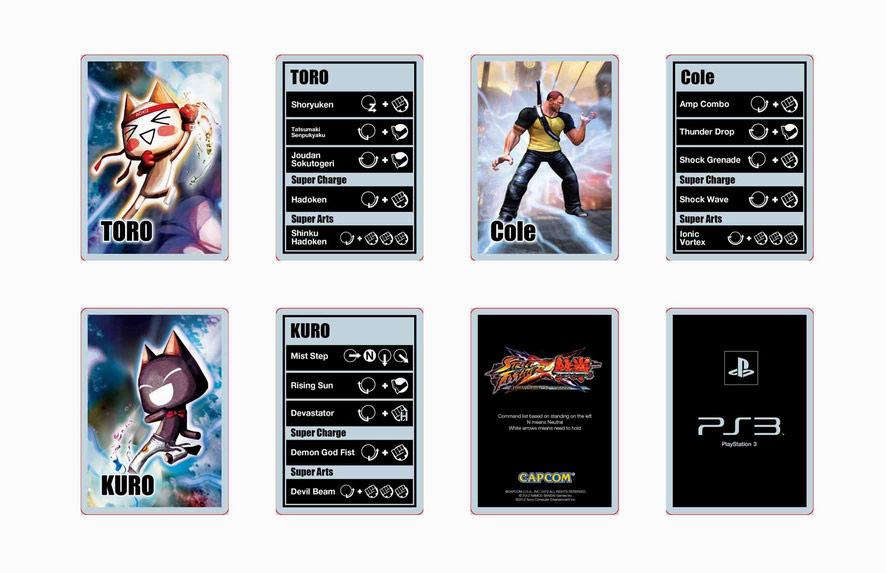 Street Fighter X Tekken move listings show Jin, M. Bison, Akuma and Ogre #05