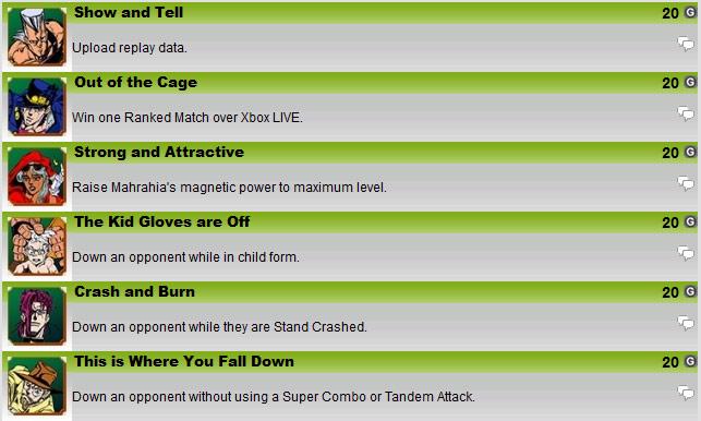 JoJo's Bizarre Adventure HD re-release achievements #1