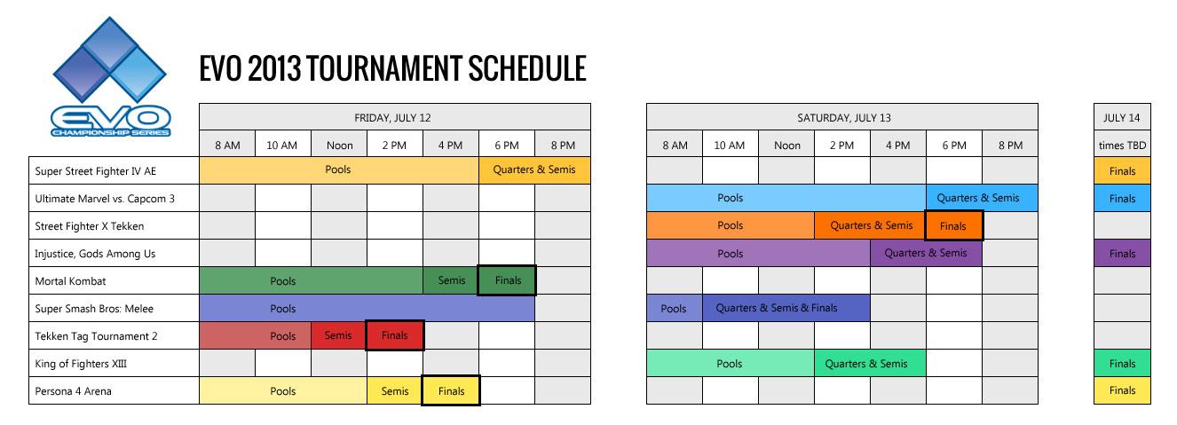 Evolution 2013 tournament schedule