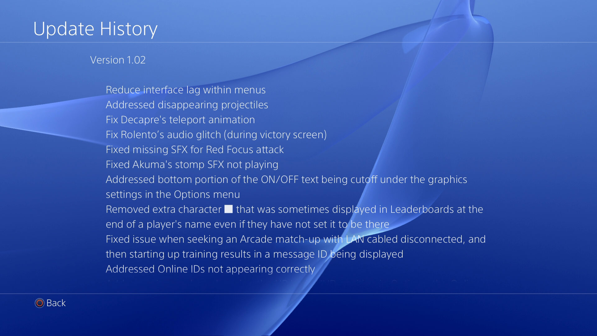 Ultra Street Fighter 4 on PS4 patch #1 notes 1 out of 2 image gallery