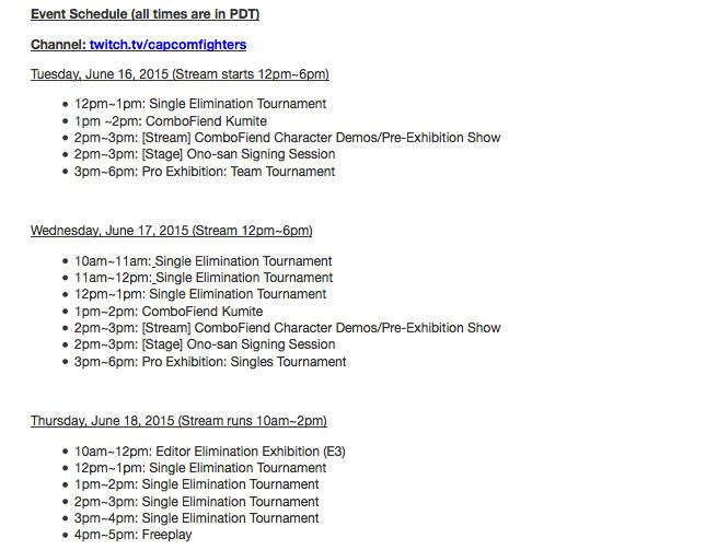 E3 SF5 Schedule