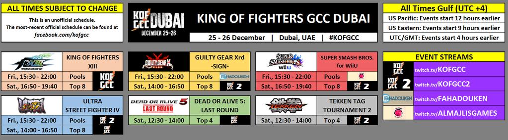 KOF GCC Schedule