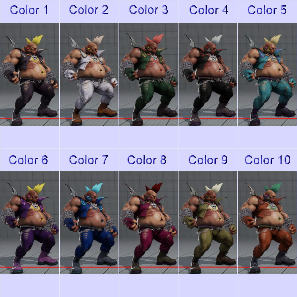 Street Fighter 5 colors for default costumes 10 out of 16 image gallery