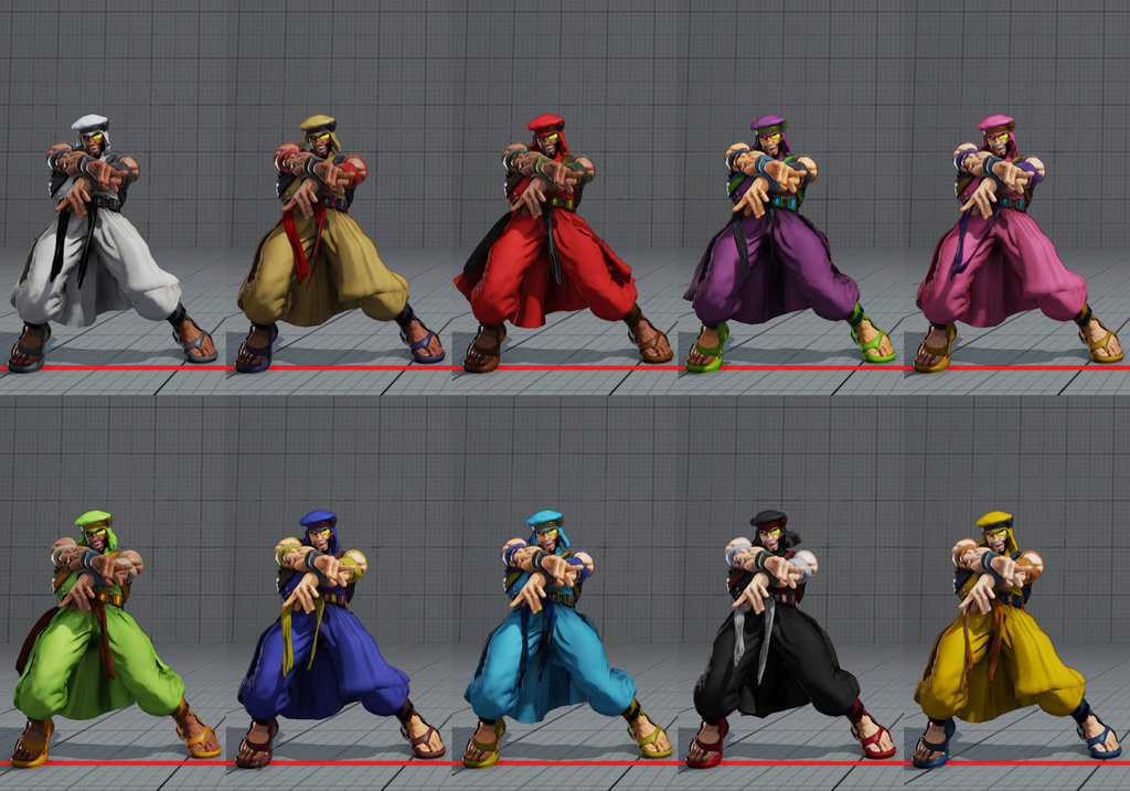 Street Fighter 5 colors for default costumes 11 out of 16 image gallery