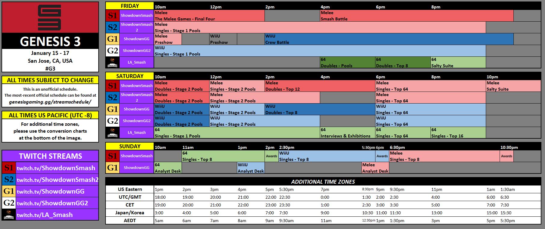 Genesis 3 Schedule